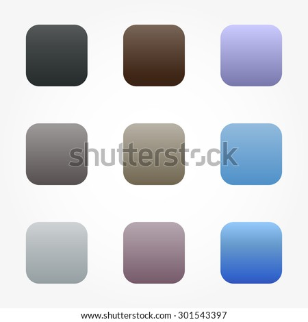 Set of nine different colored buttons gradients in cool colors blue, brown, gray for your phone.