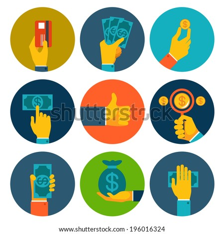 Set of nine different colorful money in hands icons with dollar notes  bills  coins  bank card and money bag  conceptual of finances  payment  purchase and investment - stock vector