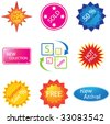 Set of nine different colorful sale stickers - stock vector