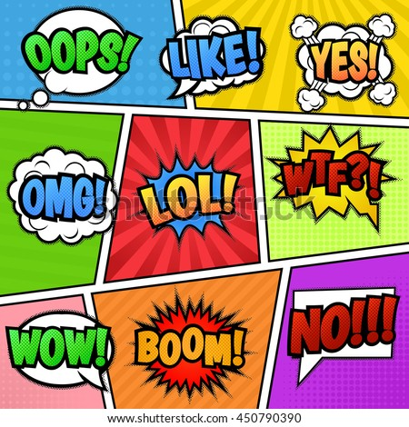 Set of nine different, colorful stickers at colorful comic strip background.. Pop art speech bubbles with  LOL, LIKE, BOOM, WOW, WTF, NO, OMG, OOPS, YES.  Isolated, vector eps 10. - stock vector