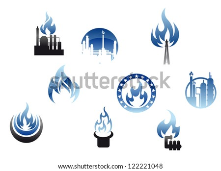 Set of nine different energy icons with gas flames depicting a petrochemical plant, industry with chimneys, domestic consumption and heating. Jpeg version also available in gallery - stock vector