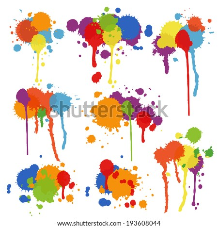 Set of nine different shapes of multicolored stains and blots in brightly colored ink  paint or pigment with drips and runs in an artistic display  vector illustration - stock vector