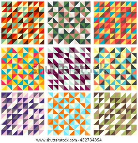 Set of nine different vector seamless patterns (tiling) with trianglies of blue, ivory, pink and green colors. Endless texture can be used for pattern fills, web page background, scrapbooking design