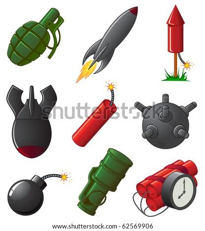 Set of nine Explosive Icons, illustration - stock vector