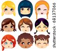 Set of nine facial expressions of cute girls from various ethnic groups - stock vector