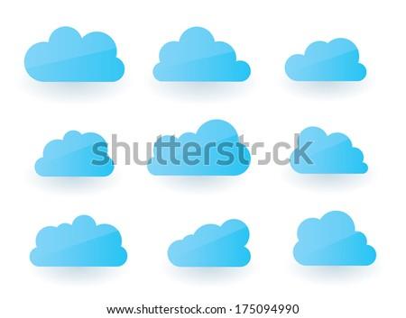 Set of nine fluffy modern cloud illustrations - stock vector