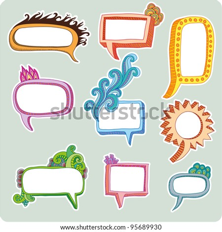 Set of nine Frames with an organic look in a three dimensional appearance - stock vector