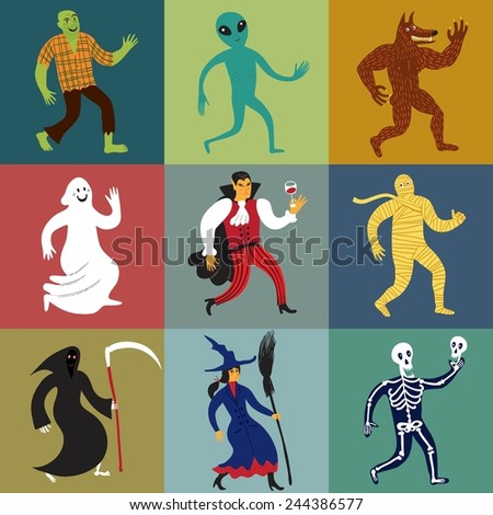 Set of nine funny cartoon monster characters. Editable vector format.