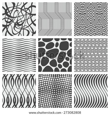 Set of nine geometrical patterns - stock vector