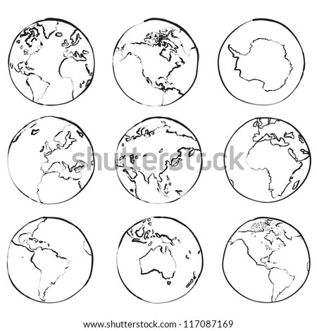 Set of nine globes showing world sketch vector