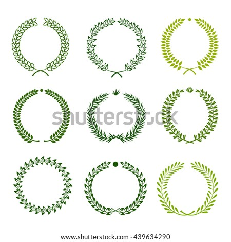 Set of nine green silhouette circular laurel wreaths
