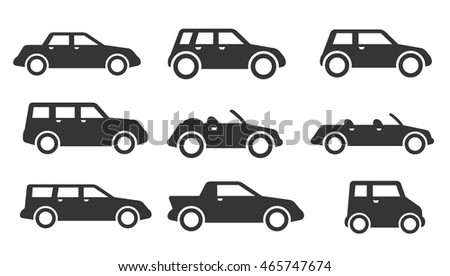 Set of nine grey icons for car theme