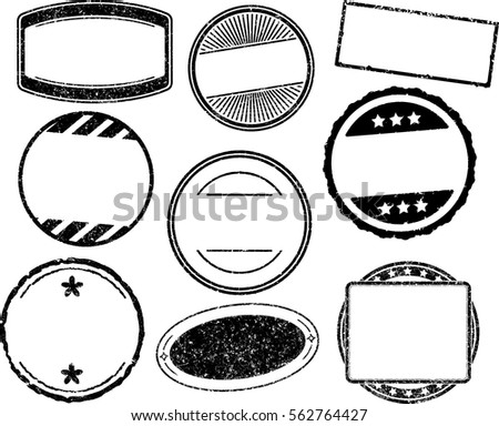 Set of nine grunge vector templates for rubber stamps