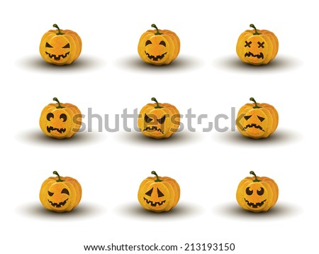 set of nine halloween pumpkin faces with emotions isolated - stock vector