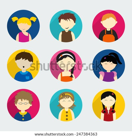 Set of nine happy kids character with little boys and girls on light grey background.