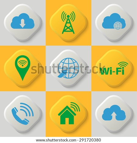 Set of nine icons of a wireless communication, wifi, cloud storage, network. Wi-Fi connection. Cloud service. Button. Vector element of graphic design - stock vector
