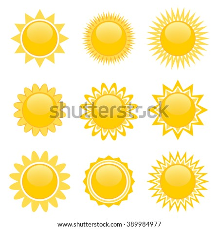 Set of nine icons of sun isolated over white for video game