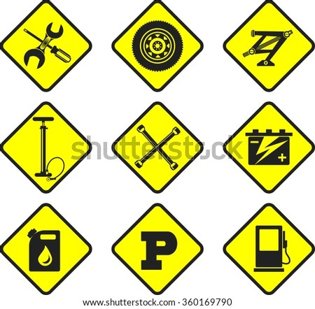 set of nine icons repair auto repair