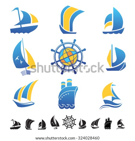Set of nine icons with boats silhouettes and sailing symbols. - stock vector