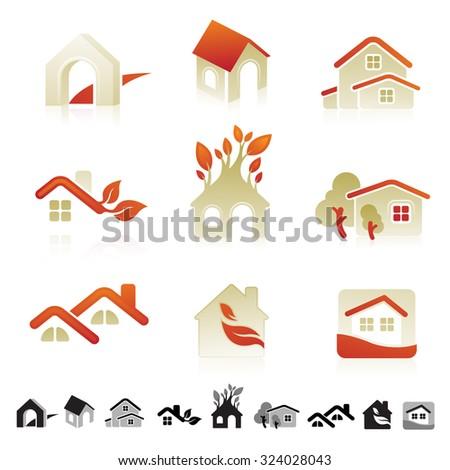 Set Nine Icons Housing Real Estate Stock Vector 324028043 Shutterstock