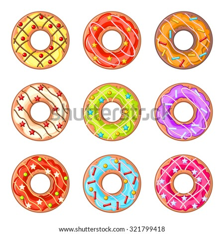 Set of nine isolated donuts with colorful lines and sprinkles - stock vector