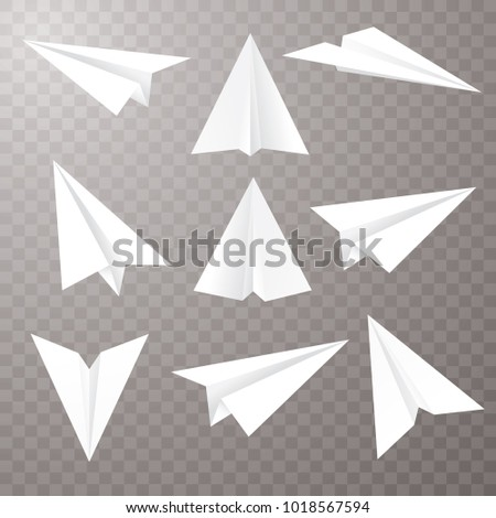 set of nine isolated paper planes, vector editable illustration