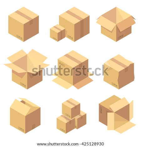 Set of nine isometric cardboard boxes isolated on white. - stock vector