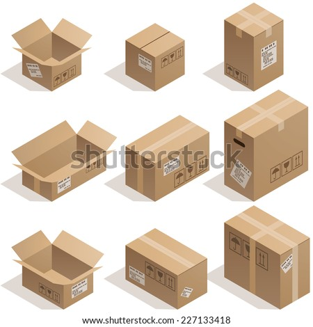 Set of nine isometric cardboard boxes isolated on white. Eps8. CMYK. Organized by layers. Global colors. Gradients used. - stock vector