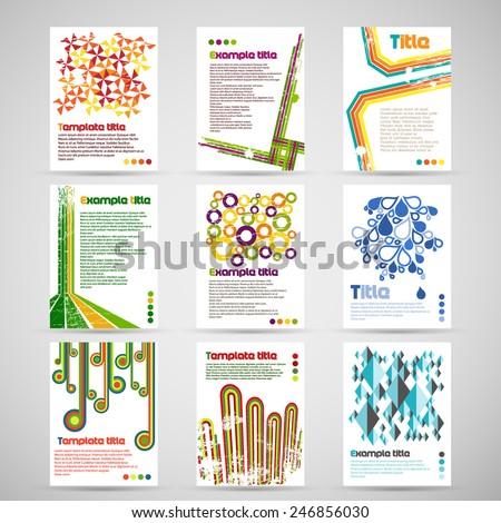Set of nine letterhead template - stock vector