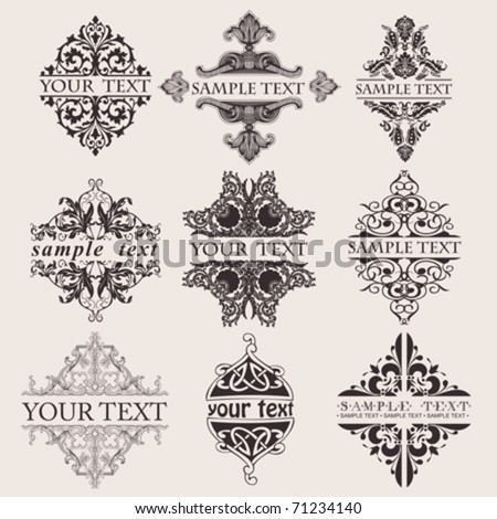 Set Of Nine Ornate Banner Text Quad - stock vector