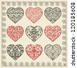 Set of nine ornate hearts - stock vector
