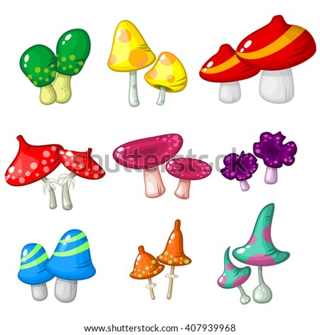 Set of nine pairs of fantastic poisonous mushrooms isolated over white for video game design - stock vector