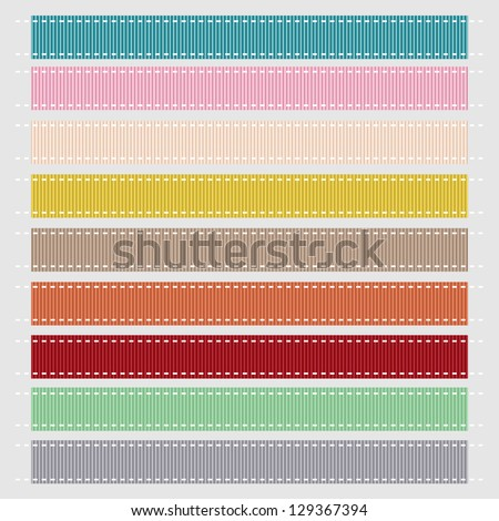Set of Nine Pastel Grosgrain Ribbon Textures. Vector Illustration. Also see other color sets. - stock vector