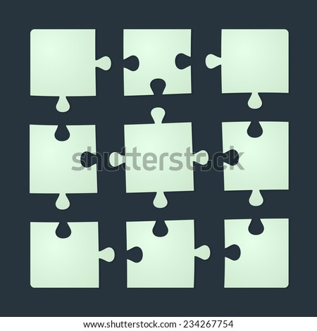 Set of nine puzzle pieces isolated on black background. Vector illustration, eps 10. - stock vector