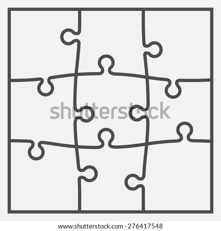 Set of nine puzzle pieces. Vector illustration, eps 8. - stock vector