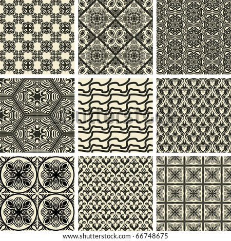 Set of nine repeating patterns - stock vector