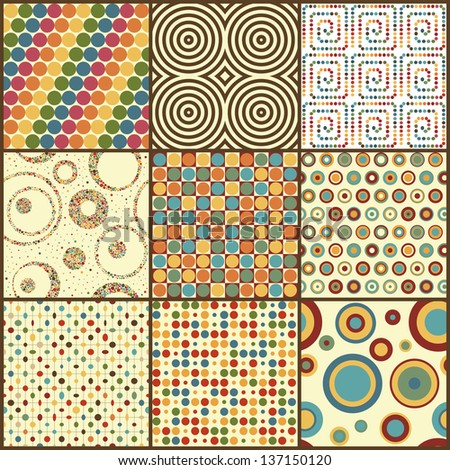 Set of nine retro geometric seamless patterns with circles. Vector