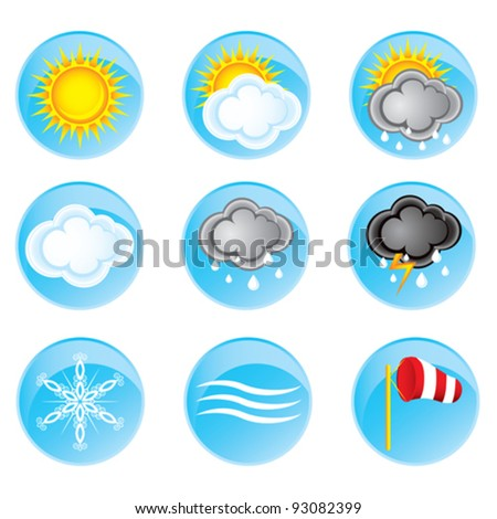 set of nine round icons with a variety of weather phenomena for your design - stock vector