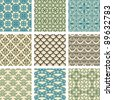 Set of nine seamless pattern in retro style - stock photo