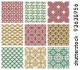 Set of nine seamless pattern in retro style - stock vector