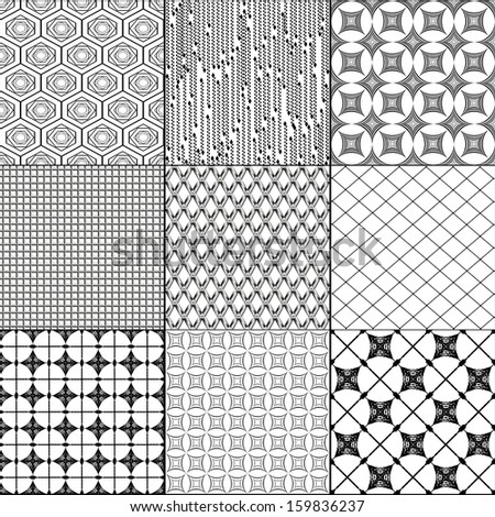 Set of nine seamless pattern. Vector simple backgrounds.