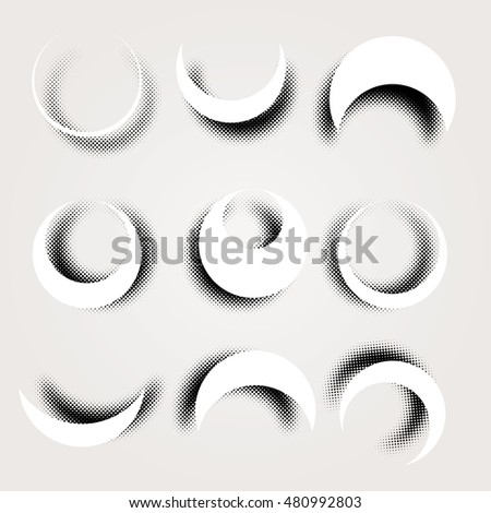 set of nine sickle shapes with dotted halftone shadows, editable and layered vector illustration
