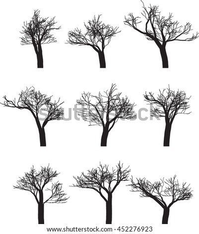 Set of nine silhouettes of trees. Vector illustration