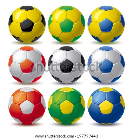 set of nine soccer balls in different colors - stock vector