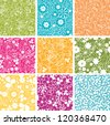 Set Of Nine  Spring Flowers Seamless Patterns Backgrounds - stock vector