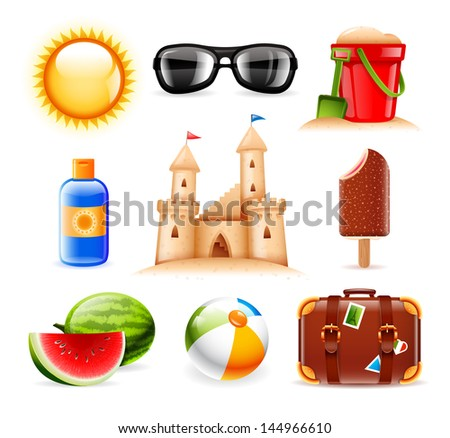 Set of nine summer and beach related vector icons - stock vector