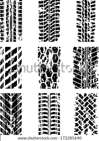 Set of nine tire tracks with ink blots. eps10 - stock vector