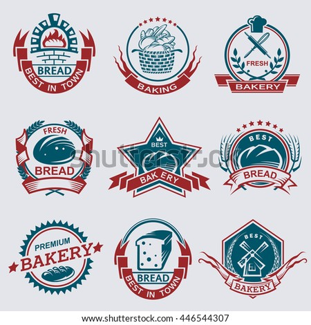 set of nine various bakery labels