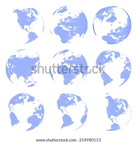 Set of nine Vector abstract globe isolated on white background illustration