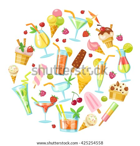Set of nine vector cocktails and ice creams. Flat style summer food and drink infographic  icons.